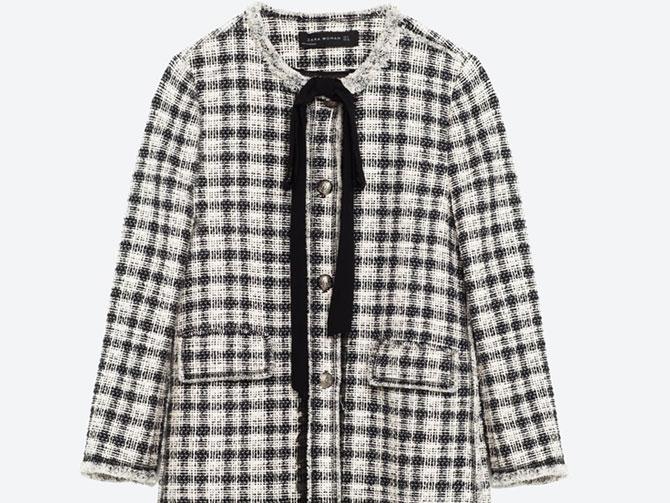 Abrigo cuadros imitación tweed Chanel lazada en cuello