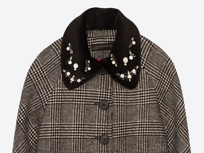 Abrigo cuadros Gales con cuello terciopelo con aplicaciones