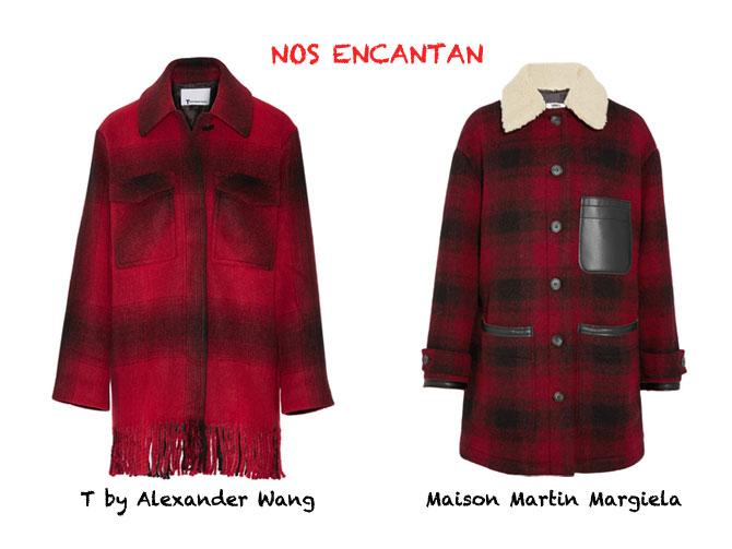 Chaquetones cuadros rojos T by Alexander Wang y Maison Martin Margiela