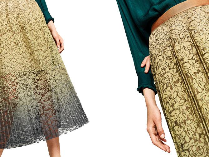 Falda plisada encaje degradé de Zara.