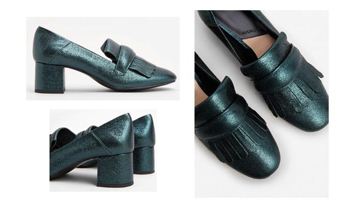 Zapatos metalizados de mango tacón sensato