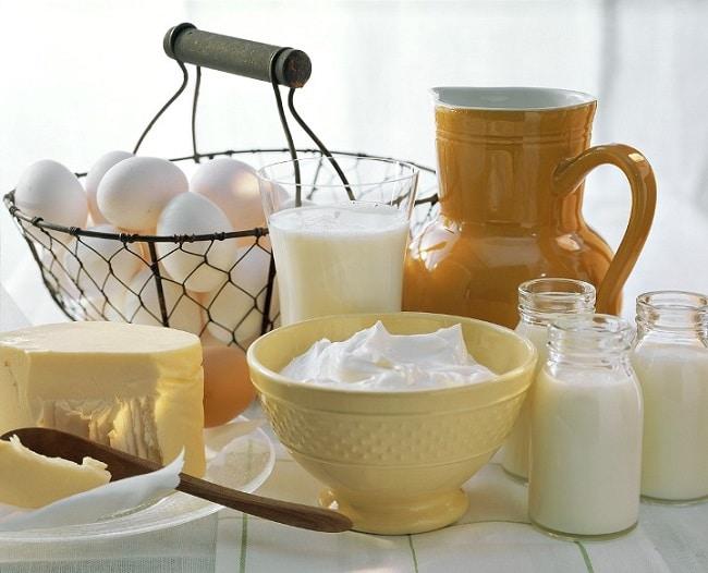 Huevos, leche, mantequilla y yogur