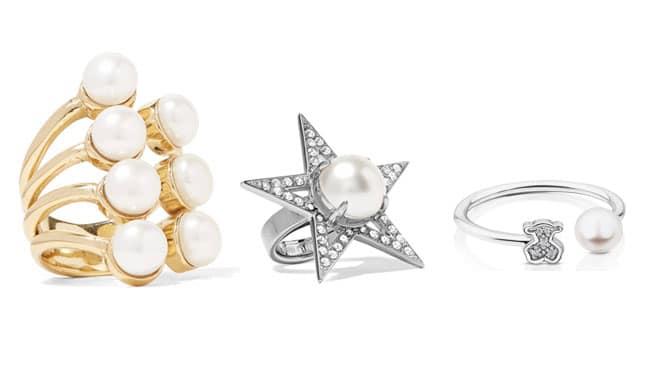 Tres modelos diferetes de anillos con perlas