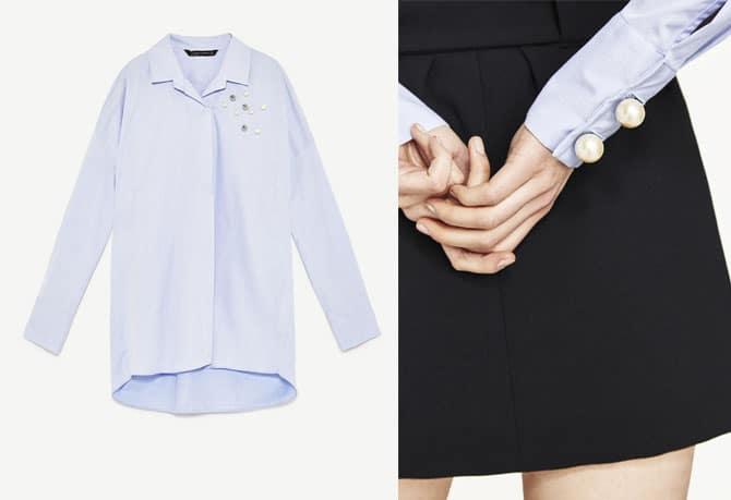 Camisa de Zara con detalle de perlas en los puños