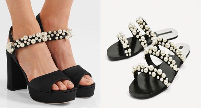 Sandalias de tacón de Miu-Miu (750 euros) y sandalias planas de Zara (35, 95 euros)