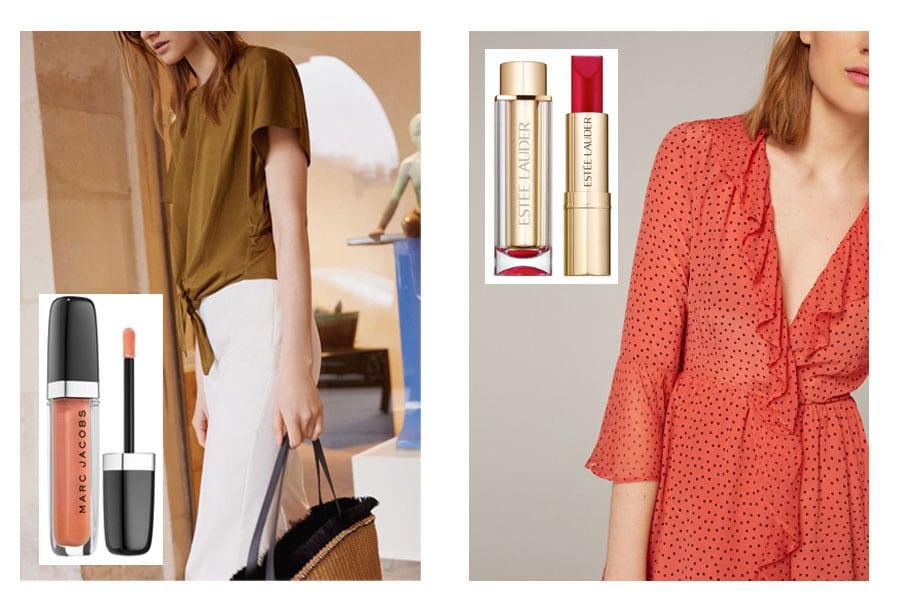 Marc Jacobs Beauty Enamored (27,50€) y Pure Color Love de Estée lauder (25€) a en Sephora. Ropa:Uterque
