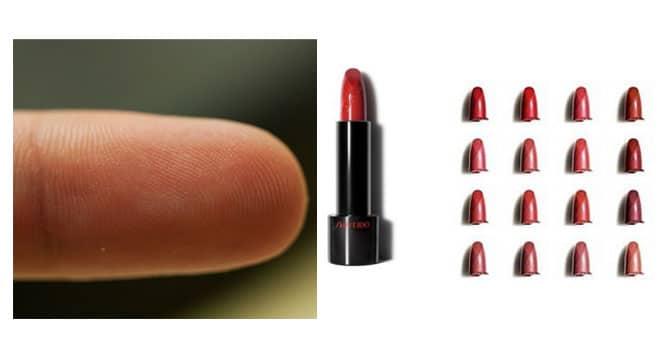 Rouuge Rouge es la nueva barra de labios de Shiseido, 16 tonos de rojo larga duración con gran poder de hidratación y acabado semi-mate (30€) . Probarla en la yema del dedo es una forma segura de acertar como te quedará en los labios.