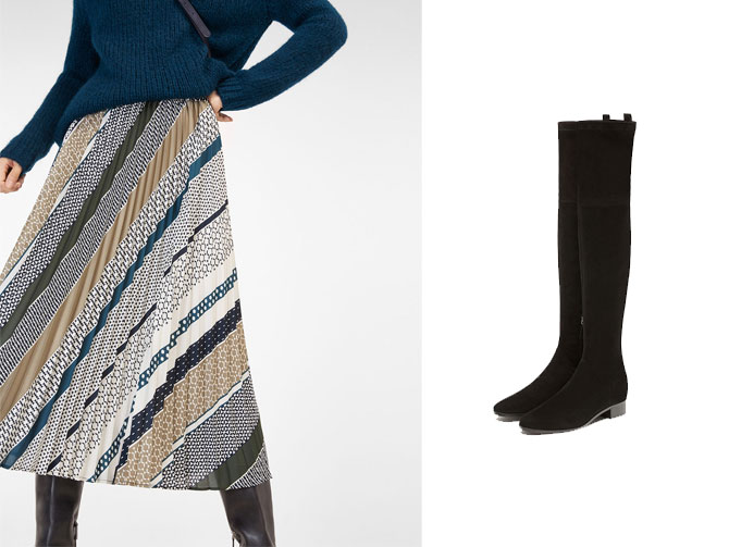 Falda plisada estampada con botas de ante negro. Massimo Dutti