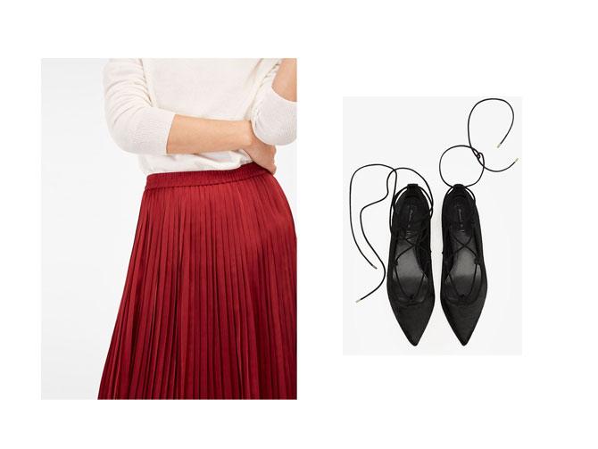 Falda plisada roja y bailarinas de piel de Massimo Dutti.