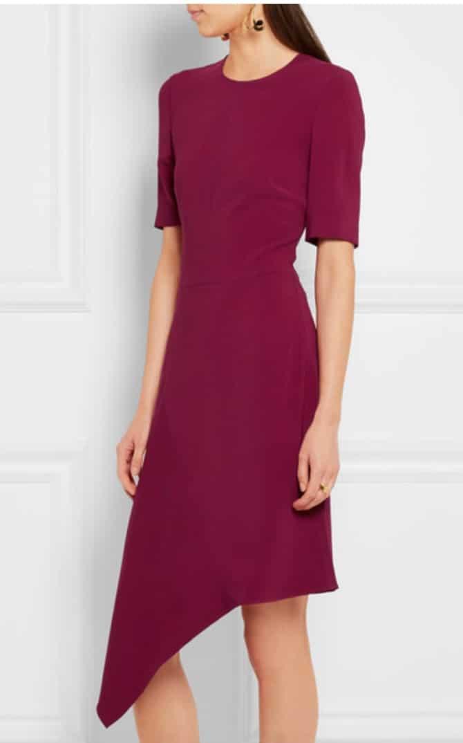 Vestido de corte desigual en color burgundy