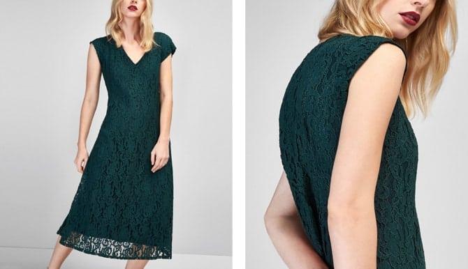 Vestido en guipur verde de Massimo Dutti (79,95)