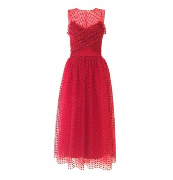 Vestido cocktail tulle plumeti glitter rojo