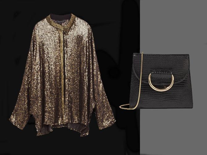 Chaqueta dorada de lentejuelas de Zara y bolso negro y detalles oro de Little Liffner en net-a-porter