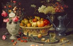 Bodegón con frutas y flores. Clara Peeters. Óleo sobre cobre, 64 x 89 cm. c. 1612-1613. Oxford, The Ashmolean Museum. Bequeathed by Daisy Linda Ward, 1939.