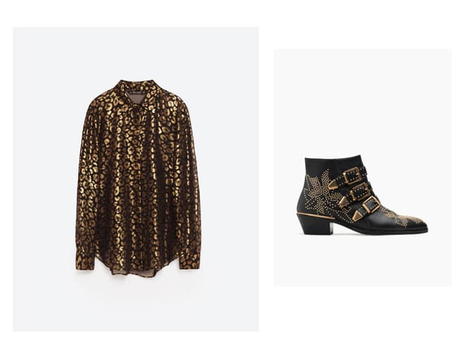 Camisa de estampado animal-print oro y negro de zara con botin tachas doradas de Chloé.