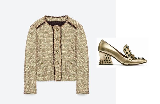 Chaqueta estilo Chanel en oro y negro de Zara y zapatos dorados de Coach.