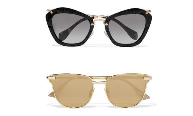 gafas negras de miu miu y doradas de Le Specs en net-a-porter