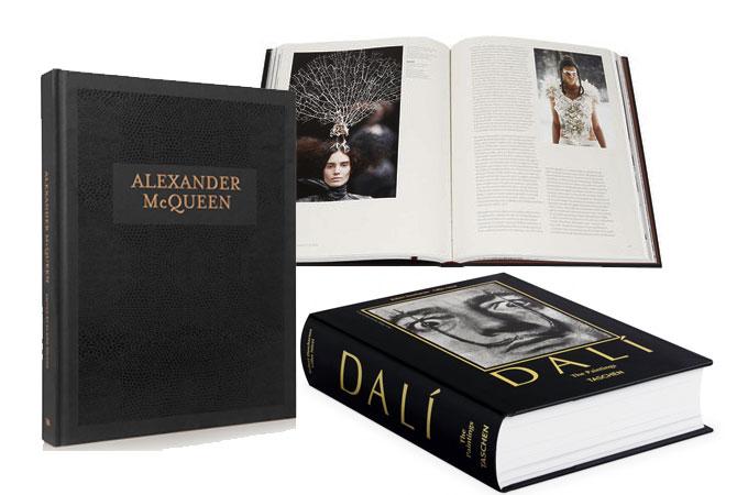 Libros oro y negro. Alexander MacQueen y Dalí