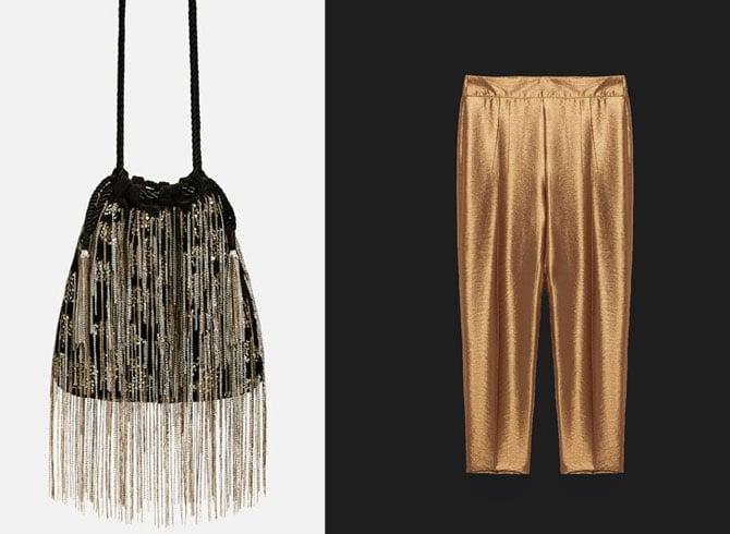 Saca de flecos y pantalón dorado de Zara