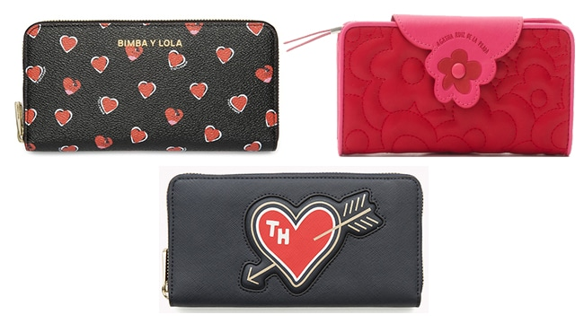 Billetera corazones negra de Bimba y Lola (88€), Billetero Agatha Ruiz de la Prada (31,15€), Cartera Saffiano de Tommy Hilfiguer (74,90€)