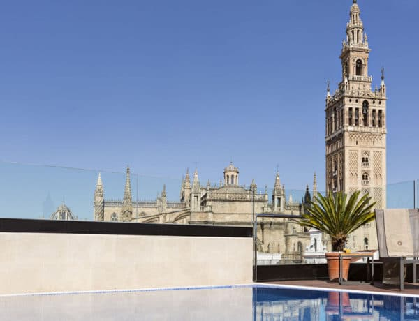 Vistas desde la piscina del Hotel 1800 de Sevilla