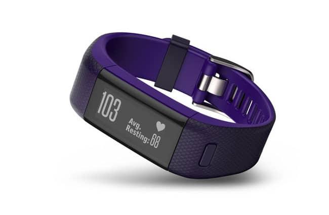 Pulsera Vivosmart de la marca Garmin de actividad con frecuencia cardíaca en la muñeca y GPS