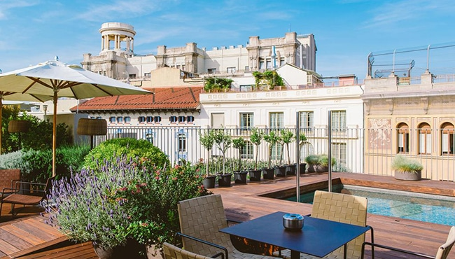 Azotea del Hotel Mercer en Barcelona. Foto: Hotel Mercer Barcelona