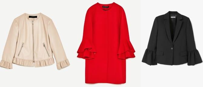 Chaqueta efecto piel Zara (29,95€), Chaqueta roja de Zara (79,95€) y blazer negra de Mango (59,99€)