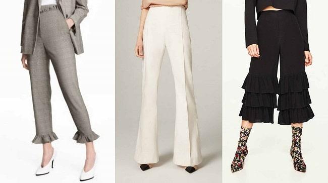 Pantalones con volante H&M (39,99€), pantalón de campana Uterqüe (79,00€) y pantalones de campana en cascada de Zara (29,95€)