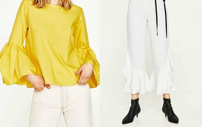 Camisa (29,95€) y pantalón (39,95€) de campana de Zara