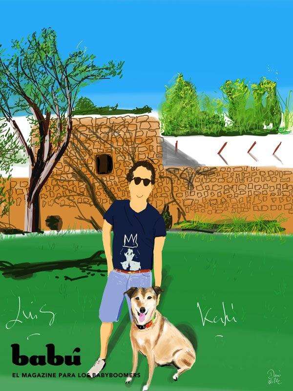 Luis y su mejor amiga Kaki en su casa de Ibiza