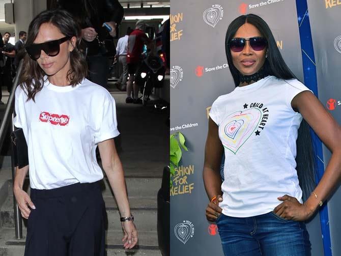 Victoria Beckham y Naomi Campbell con camisetas. Foto: G.Tres