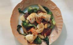 gambas con verduras al horno
