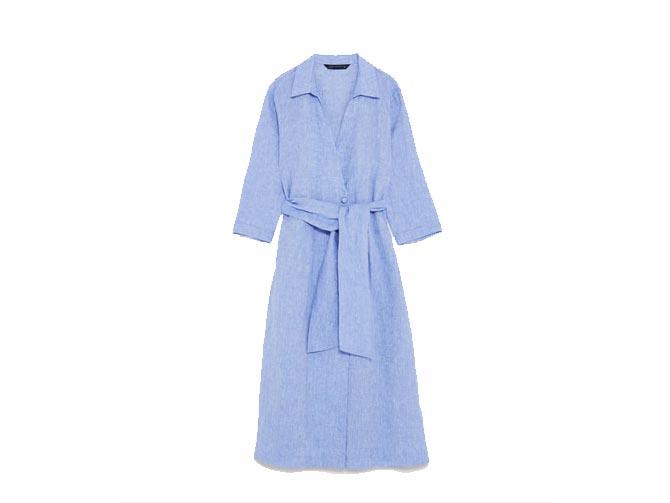 reunirse fotos nuevas mejor calidad vestido-lino-azul-cruzdao-zara-babu-magazine - Babú Magazine