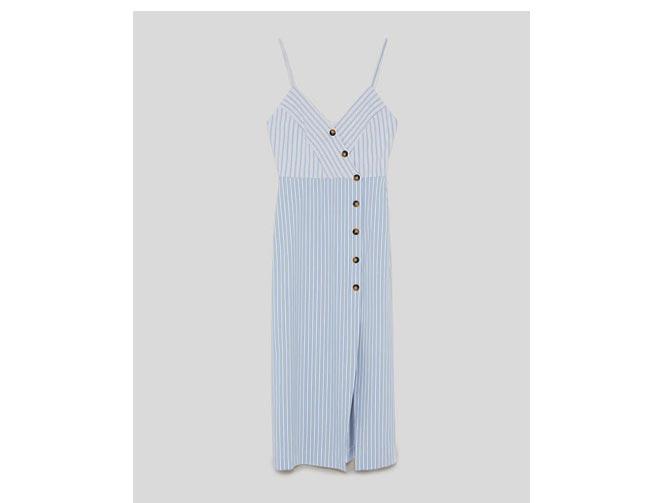 Últimas tendencias brillo de color venta de descuento vestido-lino-rayas-azul-zara-babu-magazine - Babú Magazine