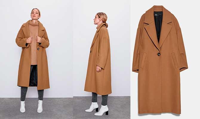 abrigo camel Zara