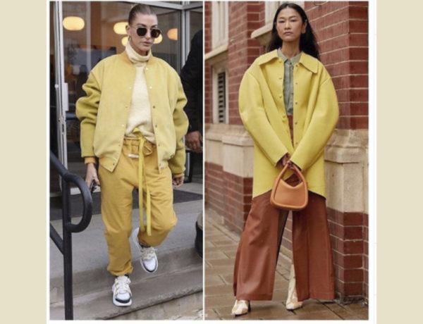 dos conjuntos de moda en amarillo