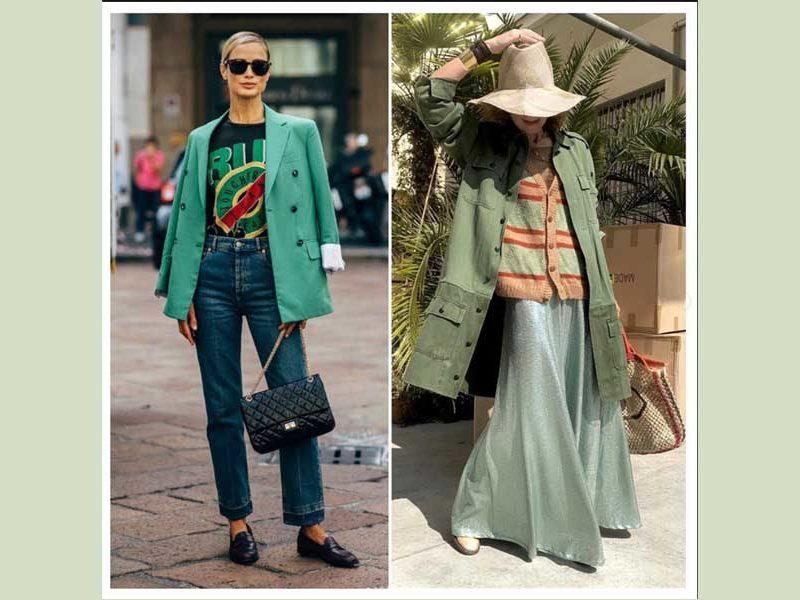dos conjuntos de color verde para mujer