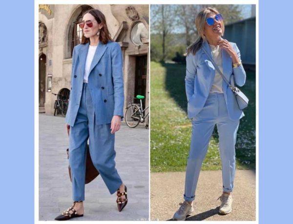 dos mujeres mayores d e50 años vestidas de azul