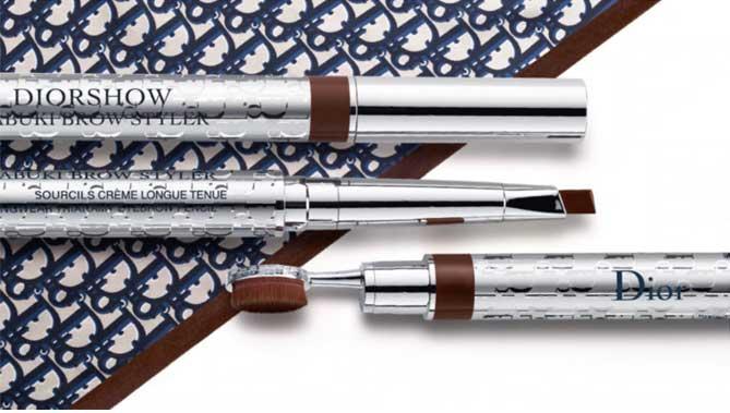 """Dior Show Kabuki Brown Styler"" de Dior lápiz de cejas cremoso con mina triangular y cepillo Kabuki"