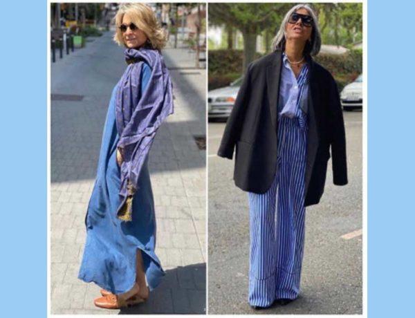 dos mujeres vestidas de azul