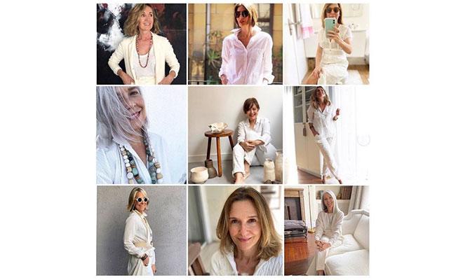 grupo de mujeres de más de 50 vestidas de blanco