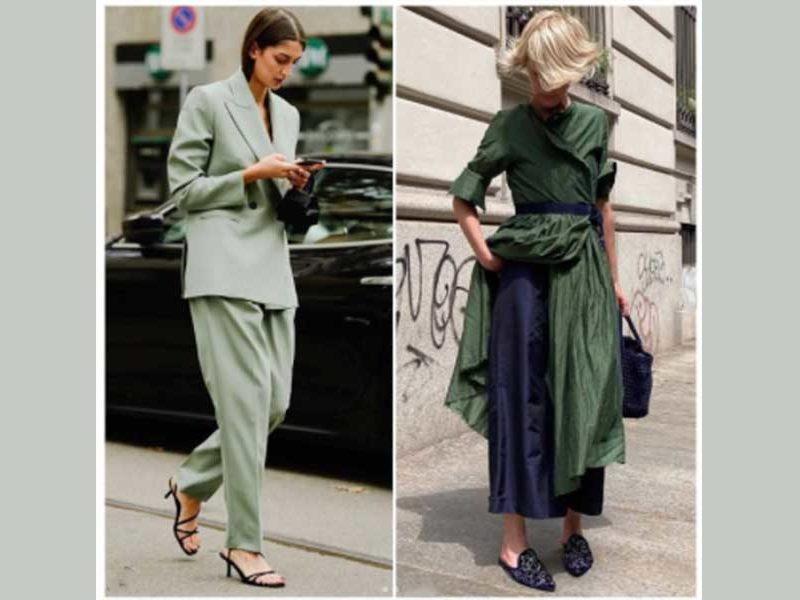 moda, dos mujeres vestidas de verde
