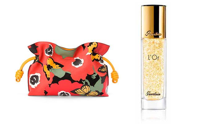 """Essence d'Eclat à l'Or Pur"" de Guerlain base sublimadora de maquillaje con partículas de oro de 24 kilates y bolso Loewe"