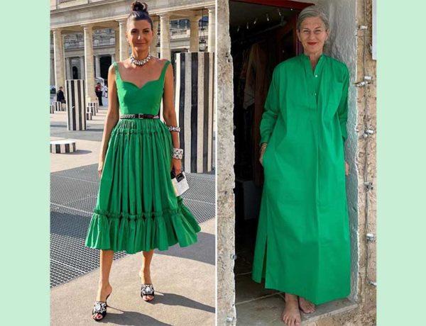 mujeres vestidas de verde esmeralda