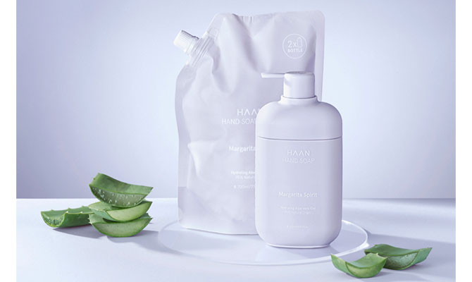 """""""Hand Soap"""" jabón de manos de Haan  su envase reciclable y puede rellenarse"""